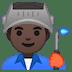 👨🏿🏭 Dark Skin Tone Male Factory Worker Emoji on Google Platform