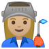 👩🏼🏭 woman factory worker: medium-light skin tone Emoji on Google Platform