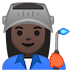 👩🏿‍🏭 woman factory worker: dark skin tone Emoji on Google Platform
