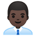 👨🏿‍💼 man office worker: dark skin tone Emoji on Google Platform