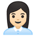 👩🏻‍💼 woman office worker: light skin tone Emoji on Google Platform