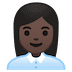 👩🏿‍💼 woman office worker: dark skin tone Emoji on Google Platform