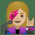 👩🏼🎤 woman singer: medium-light skin tone Emoji on Google Platform