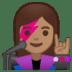 👩🏽🎤 woman singer: medium skin tone Emoji on Google Platform