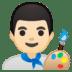 👨🏻🎨 man artist: light skin tone Emoji on Google Platform