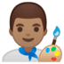👨🏽‍🎨 man artist: medium skin tone Emoji on Google Platform