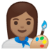 👩🏽‍🎨 woman artist: medium skin tone Emoji on Google Platform
