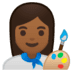 👩🏾🎨 woman artist: medium-dark skin tone Emoji on Google Platform