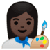👩🏿‍🎨 woman artist: dark skin tone Emoji on Google Platform