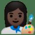 👩🏿🎨 woman artist: dark skin tone Emoji on Google Platform