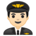 👨🏻‍✈️ man pilot: light skin tone Emoji on Google Platform