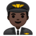 👨🏿‍✈️ man pilot: dark skin tone Emoji on Google Platform