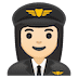 👩🏻‍✈️ woman pilot: light skin tone Emoji on Google Platform