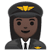 👩🏿‍✈️ woman pilot: dark skin tone Emoji on Google Platform