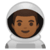 👨🏾‍🚀 man astronaut: medium-dark skin tone Emoji on Google Platform