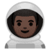 👨🏿🚀 man astronaut: dark skin tone Emoji on Google Platform
