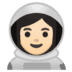 👩🏻‍🚀 woman astronaut: light skin tone Emoji on Google Platform