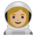 👩🏼‍🚀 Medium Light Skin Tone Female Astronaut Emoji on Google Platform