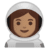 👩🏽‍🚀 woman astronaut: medium skin tone Emoji on Google Platform
