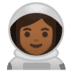 👩🏾‍🚀 woman astronaut: medium-dark skin tone Emoji on Google Platform