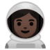 👩🏿‍🚀 Dark Skin Tone Female Astronaut Emoji on Google Platform