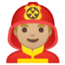 👨🏼‍🚒 man firefighter: medium-light skin tone Emoji on Google Platform