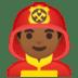 👨🏾🚒 man firefighter: medium-dark skin tone Emoji on Google Platform