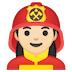 👩🏻‍🚒 woman firefighter: light skin tone Emoji on Google Platform