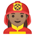 👩🏽‍🚒 woman firefighter: medium skin tone Emoji on Google Platform
