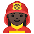 👩🏿‍🚒 woman firefighter: dark skin tone Emoji on Google Platform
