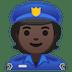 👮🏿 police officer: dark skin tone Emoji on Google Platform