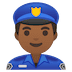 👮🏾‍♂️ man police officer: medium-dark skin tone Emoji on Google Platform
