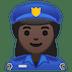 👮🏿♀️ woman police officer: dark skin tone Emoji on Google Platform