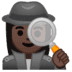 🕵🏿‍♀️ woman detective: dark skin tone Emoji on Google Platform