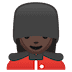 💂🏿‍♀️ woman guard: dark skin tone Emoji on Google Platform