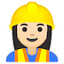 👷🏻‍♀️ woman construction worker: light skin tone Emoji on Google Platform