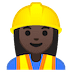 👷🏿‍♀️ woman construction worker: dark skin tone Emoji on Google Platform