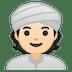 👳🏻 person wearing turban: light skin tone Emoji on Google Platform