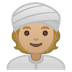 👳🏼 person wearing turban: medium-light skin tone Emoji on Google Platform