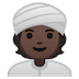 👳🏿 person wearing turban: dark skin tone Emoji on Google Platform