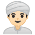 👳🏻‍♂️ man wearing turban: light skin tone Emoji on Google Platform