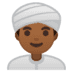 👳🏾‍♂️ Medium Dark Skin Tone Man Wearing Turban Emoji on Google Platform