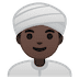 👳🏿‍♂️ man wearing turban: dark skin tone Emoji on Google Platform