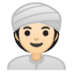 👳🏻‍♀️ woman wearing turban: light skin tone Emoji on Google Platform