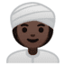 👳🏿‍♀️ woman wearing turban: dark skin tone Emoji on Google Platform
