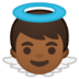 👼🏾 baby angel: medium-dark skin tone Emoji on Google Platform
