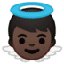 👼🏿 baby angel: dark skin tone Emoji on Google Platform