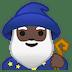 🧙🏿♂️ man mage: dark skin tone Emoji on Google Platform