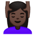 💆🏿‍♀️ woman getting massage: dark skin tone Emoji on Google Platform