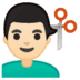 💇🏻‍♂️ man getting haircut: light skin tone Emoji on Google Platform